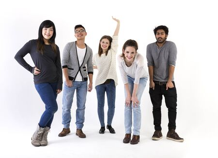Happy group of friends. Mixed race group. Isolated on a white background. photo