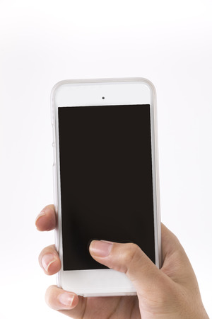 Female hand is holding a modern touch screen smart phone. Isolated on White Background.