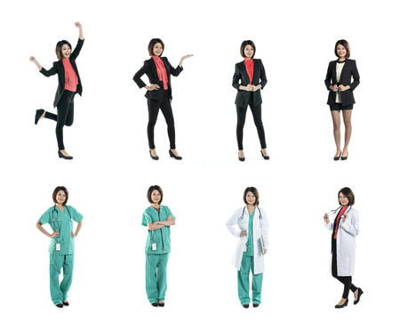 Collection of 8 full length portraits of the same Asian woman wearing business suit and medical clothing. Isolated on white background photo