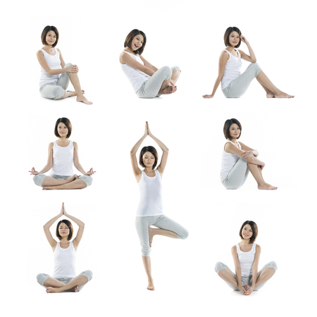 Collection of 8 full length portraits of the same Asian woman doing yoga exercise. Isolated on white background photo