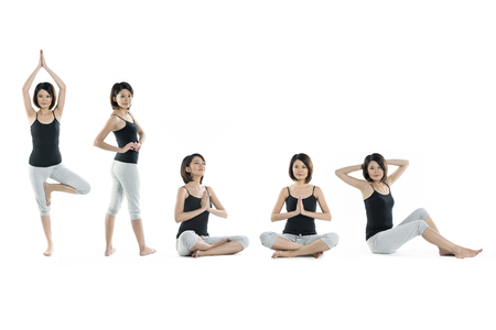 Collection of 5 full length portraits of the same Asian woman doing yoga exercise. Isolated on white background photo