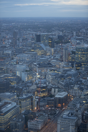 forground: Aerial view of the city of London at dusk. With the financial district in the forground. Stock Photo