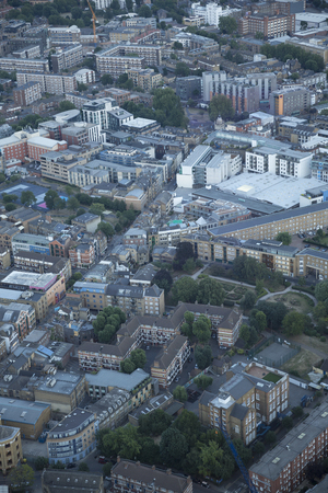 south london: Aerial view of South London at dusk.