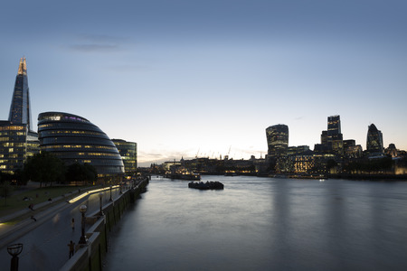 shard of glass: The London Skyline and the Riverside area from Tower Bridge. Stock Photo