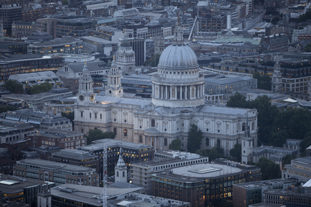 st pauls: Aerial view of St. Pauls cathedral and the city of London at dusk. Stock Photo