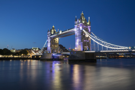 Night shot of Tower Bridge, London, England.