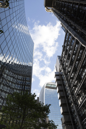 lloyd's of london: View looking up at the modern office buildings in Lime Street in the City of London. Stock Photo