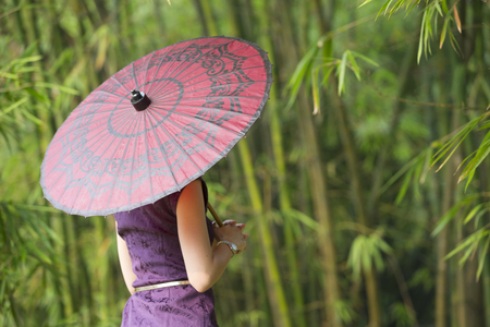 chinese dress: Rear view of a mysterious Chinese Woman wearing a Cheongsam Chinese Dress with traditional umbrella. Stock Photo