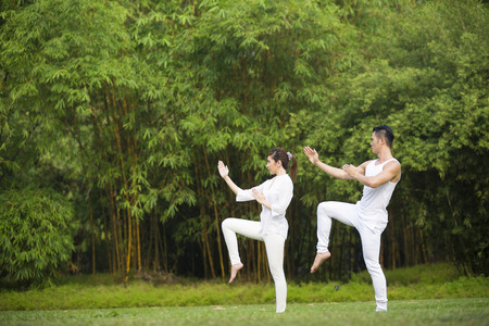 Asian Man and woman doing Tai Chi in a garden. Healthy lifestyle and relaxation concept. Stock fotó