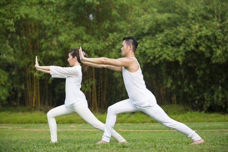 tai chi: Asian Man and woman doing Tai Chi in a garden. Healthy lifestyle and relaxation concept. Stock Photo