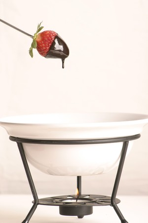 Strawberry dipped in chocolate Fondue Stock Photo - 4219415