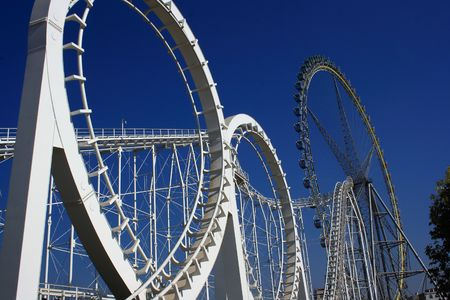 thrilling: Roller coaster and Ferris wheel