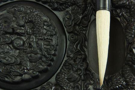 Chinese calligraphy tool��brush and inkstone photo