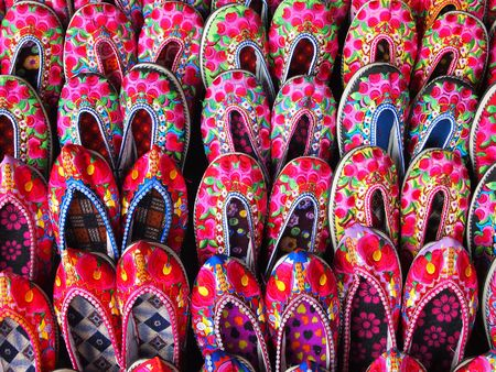 embroidered: Chinese shoes embroidered with flowers Stock Photo