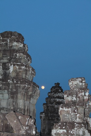 Angkor Wat at night the moon photo
