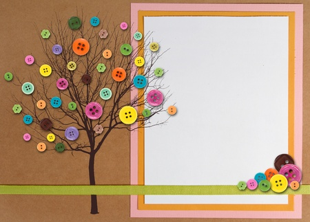 Spring time tree with button leaves, paper composite with copy space on right side