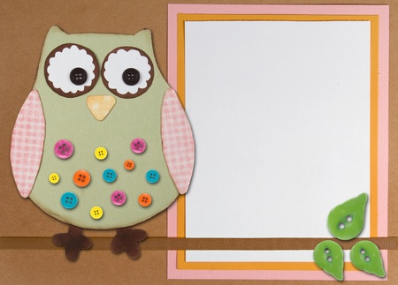 An Owl sitting on a branch with buttons, on a paper background with room for copy space.