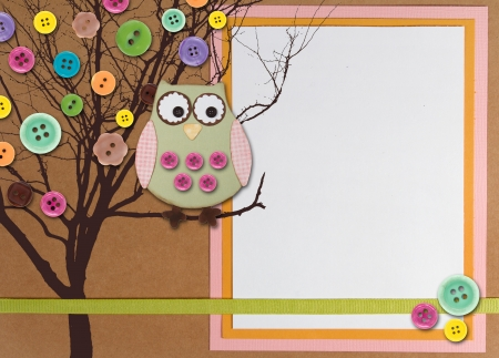 simple frame: Spring time tree with owl and buttons on paper background with white copy space. Stock Photo