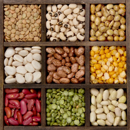 Bean background nine varieties in a printers box, pinto, lima, navy, black eyed, spit peas, soy, lentils,