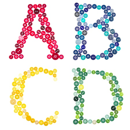 arts and crafts: Letters A, B, C, D, made out of photographed buttons, isolated on a white background