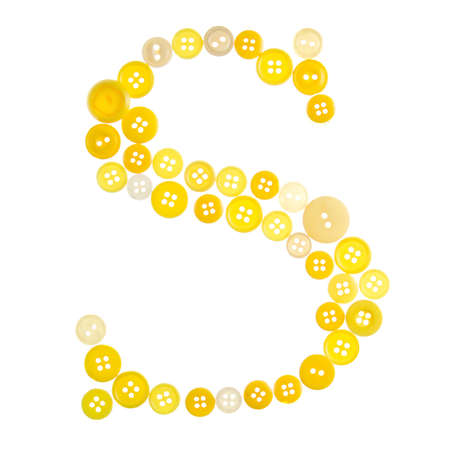 The letter S made of photographed buttons, isolated on a white background Stock Photo - 12503791