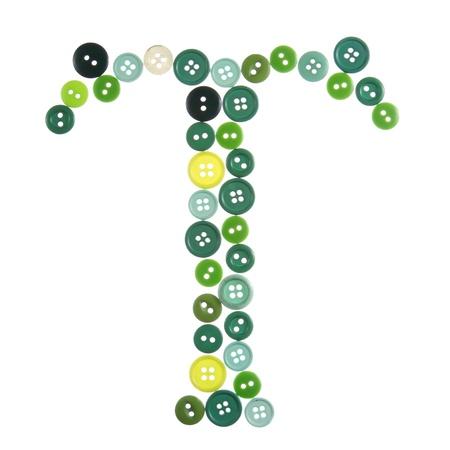 Les lettres en T de boutons photographiés, isolé sur un fond blanc Banque d'images - 12503800
