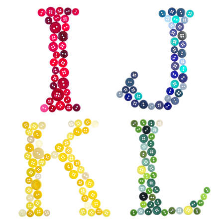letters clipart: The letters, I, J, K and L made of buttons isolated on a white background