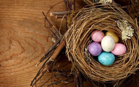 Easter candy in a nest with a wooden background photo
