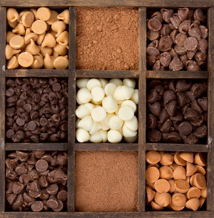 Assorted chocolates, cacao, dark, semisweet, white, milk, butterscotch, and peanut butter, chips in a printers box