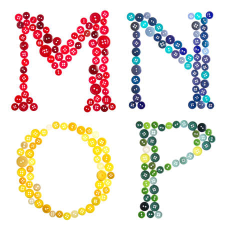 english letters: The letters, M, N, O and P made of buttons isolated on a white background