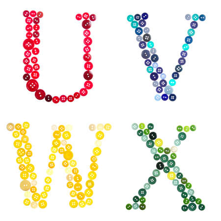 The letters U, V, W, and X made of photographed buttons, isolated on a white background photo