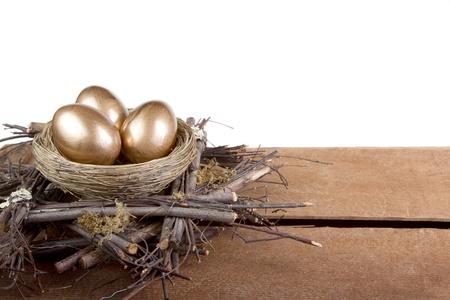 gniazdo jaj: Lokowania oszczędności, trzy złote jaja w gnieździe, koncepcja Buisness