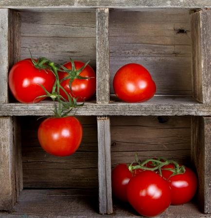sabroso: Tomates en una caja de madera de la vendimia, decorativo Foto de archivo