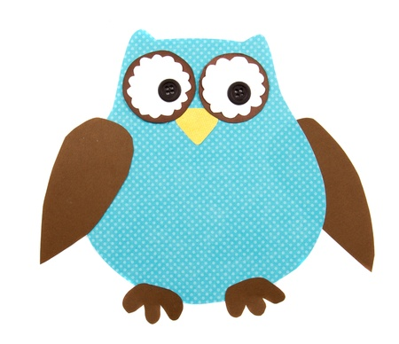 night owl: A colorful owl cut out of paper, isolated on a white background