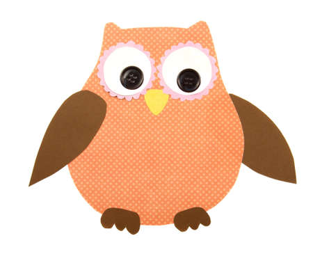 A colorful owl cut out of paper, isolated on a white background photo