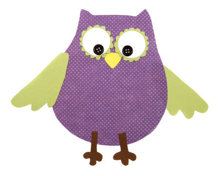 A colorful owl cut out of paper, isolated on a white background