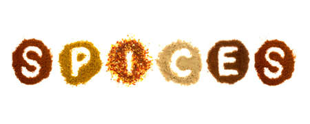 Assorted spices spelling the word spices, isolated on a white background Stock Photo - 12893002
