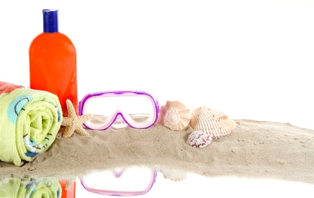 Beach gear still life, isolated on white Stok Fotoğraf - 13115875