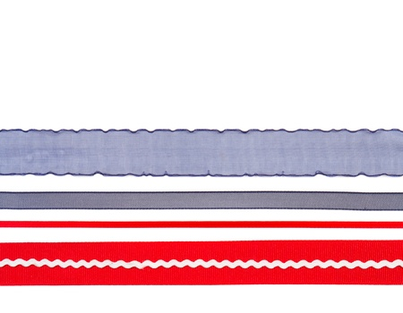 rick: Red white and blue ribbon isolated on white background Stock Photo