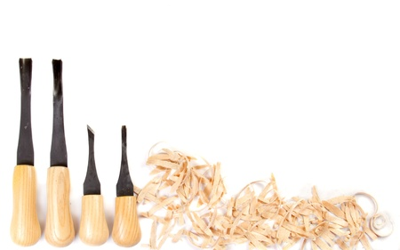 carpenter's sawdust: Carving hand tools or chisels on a white background