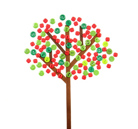 apple tree made of buttons and ribbon isolated on whtie background