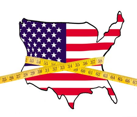 epidemic: Map of America on a diet, with measuring tape isolated on white background