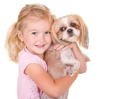 shih: young girl holding her pet dog shih tzu, isolated on white