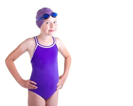 Nadador competitivo adolescente, sonriente, aislado en un fondo blanco Foto de archivo - 14416876