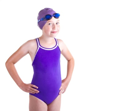 swimming race: Teen competitive swimmer, smiling, isolated on a white background
