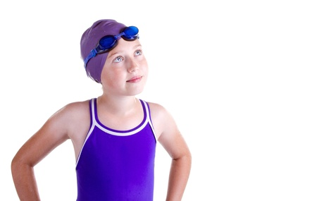 Hopeful young competitive swimmer, isolated on white. photo