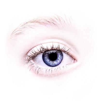 Close up of a blue eye, natural no make-up