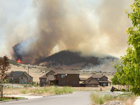 backwoods: Wild fire of forrest fire endangers neighborhood in Utah