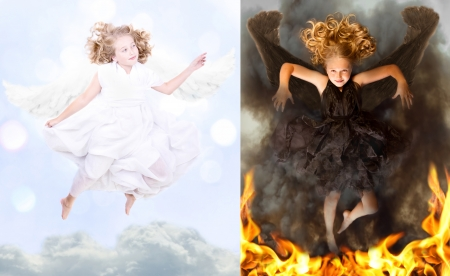 A good angel and a bad angel, good versus bad concept, heaven and hell, dark and light. photo