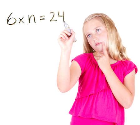 dry erase: Student writing math problem in air,  isolated on white background